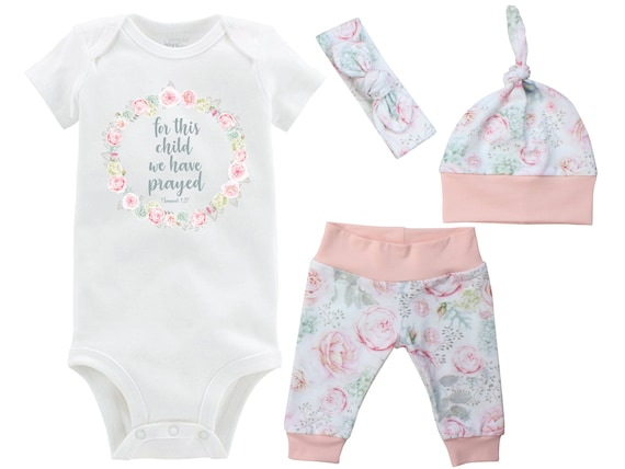 For This Child We Have Prayed Coming Home Outfit Onesie Watercolor Floral Rose Pink Hydrangea Yoga Leggings Knot Hat Headband Infertility