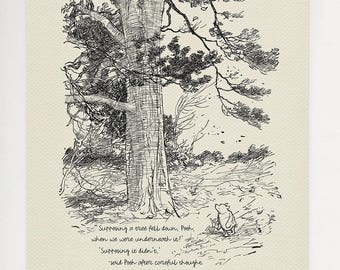 Supposing a tree fell down, Pooh - Pooh Quotes classic vintage style poster print #25