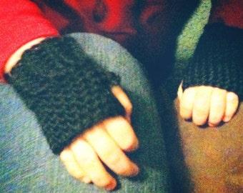 Toddler size crochet fingerless mitts gloves.  Boy or girl - Any color -