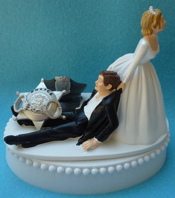 Funny Wedding Garters: Wedding Cake Topper Police Officer Themed W/ Bridal Garter