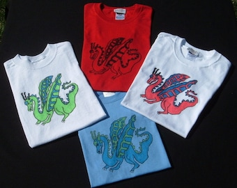 Child's Dragon T-Shirts, Tees, Sizes 2T to 10/12