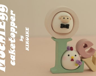 chicken and sheep  ,Rooster wedding cake topper, wedding cake topper