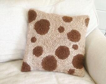 Polka Dot Chunky Geometric Alpaca Hand Hooked Pillow