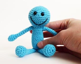 Mr. Meeseeks Amigurumi Crochet Doll, Mr. Meeseeks Stuffed Toy, Mr. Meeseeks Toy, Mr. Meeseeks Plush, Rick and Morty Toy