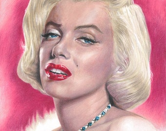 Print of Colored Pencil Drawing of Marilyn Monroe (8.5 x 11)