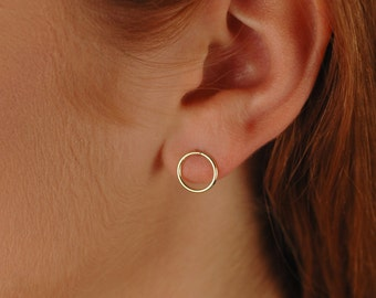 Open Circle Earrings, Dainty 14K Gold-Filled Round eternity earrings, or Rose Gold or Silver, Circle Stud Earrings, Simple Everyday earrings