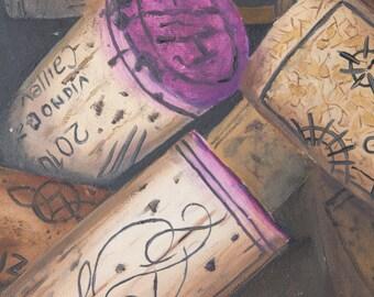 Stampa di quadro a olio da me realizzato, tappi di sughero, vino