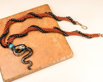 KUMIHIMO NECKLACE Snake Dragon Necklace Burnt Umber Black Dichroic Gift for Her Year of the Snake Necklace Birthday Goth Macabre Reptile