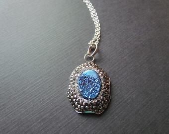Druzy Necklace - Druzy Pendant - Crystal Pendant - Blue Agate Necklace - Blue Druzy -