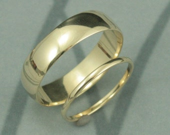 Solid 14K Gold Thick and Thin Wedding Band Set-His and Hers Rings--Traditional Rounded Style--Your Choice of Gold Color, Size and Finish