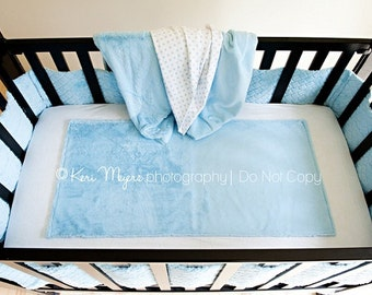 Quality Cotton Jersey Knit Crib Sheet with attached Ultra Plush inset area that will keep baby warm and cozy