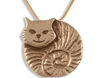 Embossed and polished bronze fat cat pendant on a gold-plated snake chain- Hand Made in UK
