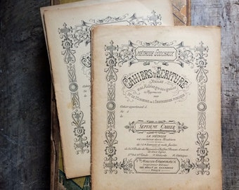 French Paper Ephemera. French School Exercise Book, Booklet, Cahier.  Antique Handwriting, Penmanship. Lessons Notebook. Writing Instruction