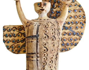 Modernist Ceramic Angel by California Artist Hal Fromhold, circa 1974