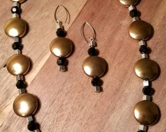 Silver and gold glam necklace set