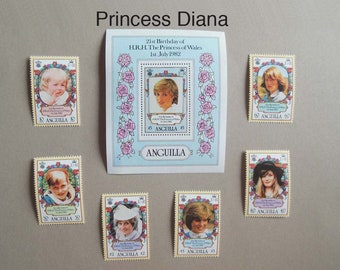 Postage Stamp sets of Princess Diana, John F. Kennedy, Winston Churchill, Charles De Gualle, and Christopher Columbus - Free Shipping