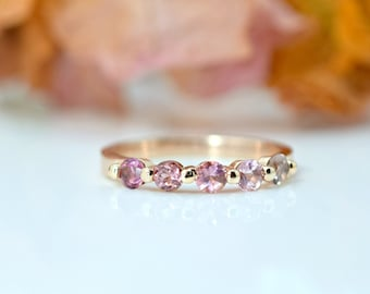 BLUSH Ombre Sapphire ring on 14K rose gold