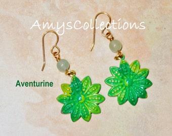 Aventurine Decennial Flower hand-painted dangle Earrings (1 Pair) One-of-a-Kind