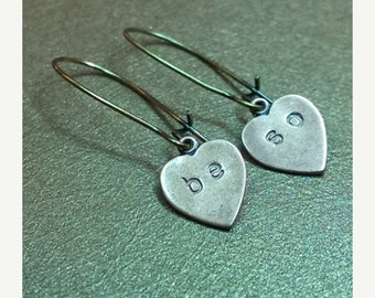 Mothers Day Sale Beso.Sweet Kisses Heart Dangle Copper and Brass Dangle Handmade Earrings