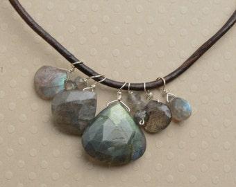 Labradorite Necklace, Labradorite Pendant Necklace, Healing Gemstone Jewelry, Blue Gray Gemstone Necklace, Summer Necklace