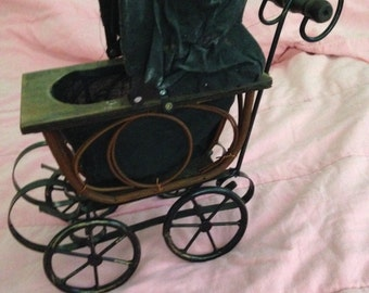 Wooden Wicker And Metal Mini Baby Doll Carriage Stroller