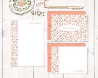 complete personalized stationery set - LACY FLOURISHES - personalized stationary - note cards - notepad - gift for her - choose color