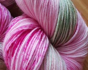 Rosey Apple /hand dyed 4ply yarn, 75/25 Superwash merino, nylon