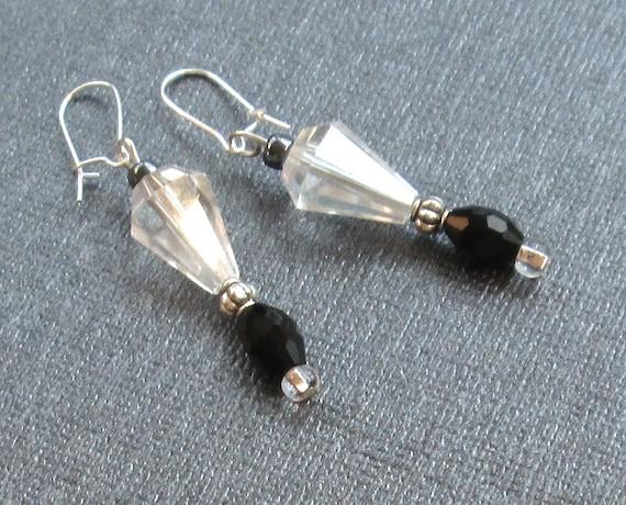 Black Crystal Drop Earrings, Clear Crystal Earrings, Art Deco Earrings, Miss Fisher Earrings, Victorian Edwardian Earrings, Dangle Earrings