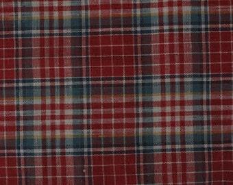 Red Plaid Cotton Vintage Fabric