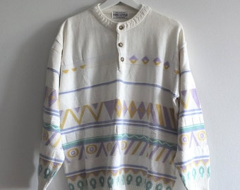 SALE! 80's / 90's PASTEL cotton sweater / PATTERNED / 3d weave /