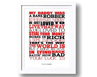 Song Lyrics The Clash Bankrobber ( Print Only) Lyric Art Song Print Music Lyrics Gift Typography Printed Lyrics