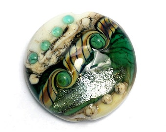 Mint Stardust Lentil Focal Bead - Dichroic - Handmade Glass Lampwork Bead 11831602