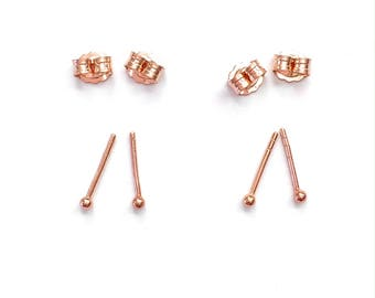 Two Pairs of Rose Gold Simple Round Dot Stud Earrings. Plain Small Tiny Pink Gold Filled Studs. Ear or Nose Ring