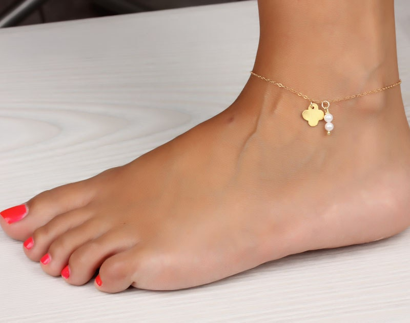 listing rose bracelet gold anklet filled ankle il bridesmaid stone cz