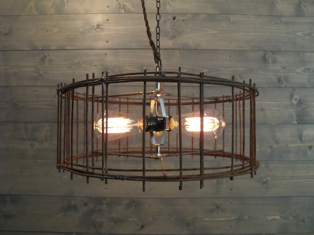 Industrial chandelier 17 diameter lighting rustic brown steel cage gallery photo gallery photo mozeypictures Image collections