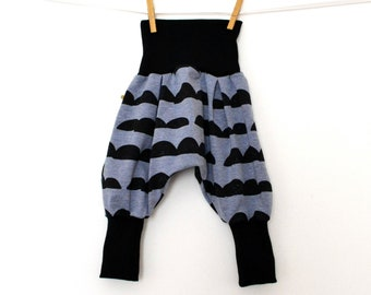 Baby harem pants, evolutionary kids harem pants in blue denim and jersey stones (6-12 months to 3/4 years)