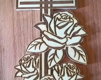 Cross with Roses - wood