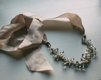 Ribbon necklace - blue crystals and white pearls (junior bridesmaid sized)