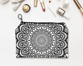 Mandala Pouch, Boho pencil pouch, bohemian, Geometric pouch, Makeup pouches, Graphic Bag, Black and white Fabric Pouch Cosmetic Bags. SP061