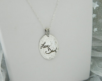 Handwriting Jewelry Hammered Sterling Silver Personalized Signature Pendant in Memory