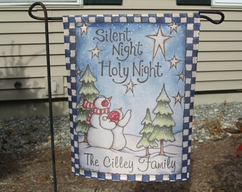 Personalized Silent Night Christmas Garden Flag  11.25 x 14.75