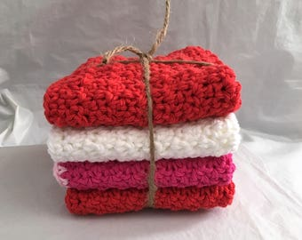 4 Dishcloths Washcloths Crocheted Cotton 2 Red Pink White Handmade Spa Cloths Dish Rag Eco Friendly