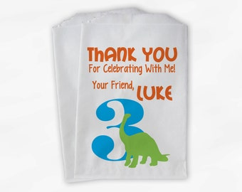 Dinosaur Birthday Party Candy Favor Bags with Age - Orange Turquoise and Lime Boys Thank You Treat Bags for Kids - 25 Paper Bags (0134)