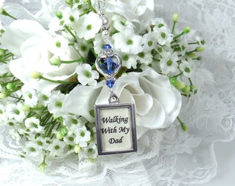 Wedding Bouquet Memorial Photo Charm Something Blue Bouquet Charm Bridal Bouquet Charm Someting Blue for Bride Bridal Bouquet Memory Charm