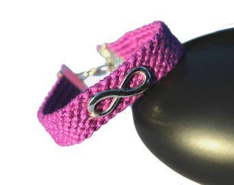 """Cuff friendship bracelet, model """"Infinity"""", purple"""