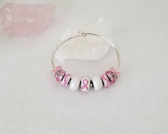 Think Pink Breast Cancer Awareness Sterling Silver Cuff Style Bracelet Made With Swarovski Crystal Charms
