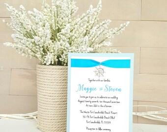 Nautical Wedding Invitations, Destination Wedding, Beach Wedding, Malibu Blue