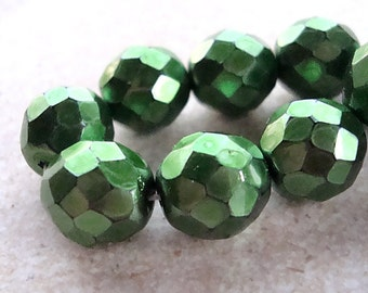 Czech Glass Beads 10mm Metallic Emerald Green Faceted Rounds - 8 Pieces