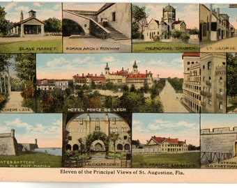 Linen Postcard, St Augustine, Florida, 11 Views of the City, ca 1935