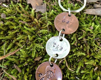 Unique keychain | sweet 16 gift | boho keychain | upcycled | repurpose | one of a kind | Be the change keychain